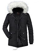 cheap Men's Downs & Parkas-Men's Going out Color Block Regular Parka, Polyester Long Sleeve Hooded Brown / Black L / XL / XXL