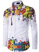 זול חולצות לגברים-פרחוני רזה חולצה - בגדי ריקוד גברים סגנון וינטג' / שרוול ארוך / אביב / סתיו / חורף