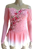 cheap Ice Skating Dresses , Pants & Jackets-Figure Skating Dress Women's / Girls' Ice Skating Dress Pink Flower Halo Dyeing Spandex Micro-elastic Professional / Competition Skating Wear Handmade Sequin Long Sleeve Figure Skating