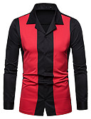 cheap Men's Ties & Bow Ties-Men's Business / Basic Shirt - Solid Colored / Color Block Patchwork