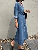 cheap Women's Dresses-Women's Going out Slim Sheath / Denim Dress V Neck Blue M L XL
