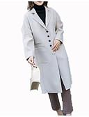 olcso Női hosszú kabátok és parkák-Női Napi Szokványos Kabát, Egyszínű Állógallér Hosszú ujj Gyapjú Bézs / Teveszín / Világoszöld S / M