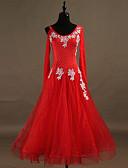 hesapli Latin Dans Giysileri-Balo Dansı Elbiseler Kadın's Eğitim Naylon / Organze / Tül Kristaller / Yapay Elmaslar Uzun Kollu Yüksek Elbise