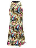 cheap Women's Skirts-Women's Plus Size Maxi Bodycon Skirts - Color Block