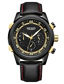 cheap Sport Watches-MEGIR Men's Sport Watch Japanese Quartz 30 m Water Resistant / Water Proof Calendar / date / day Chronograph Genuine Leather Band Analog Casual Fashion Black - Black Black / Gold / Noctilucent