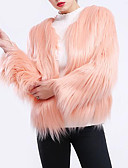 cheap Women's Blouses-Women's Going out Street chic / Sophisticated Plus Size Fur Coat - Solid Colored, Pleated / Patchwork