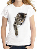 cheap Women's T-shirts-Women's Basic / Street chic Plus Size Cotton T-shirt - Animal Cat, Denim / Summer