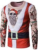 זול טישרטים לגופיות לגברים-גיאומטרי צווארון עגול חג מולד טישרט - בגדי ריקוד גברים / שרוול ארוך
