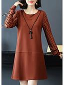 baratos Macacões & Macaquinhos-Mulheres Básico / Moda de Rua Reto / Tricô Vestido - Franzido, Sólido / Poá Acima do Joelho