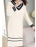 tanie Getry-Damskie Podstawowy Sweter Sukienka - Solidne kolory W serek Do kolan