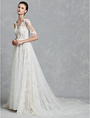 cheap Wedding Dresses-A-Line V Neck Chapel Train Lace / Tulle Made-To-Measure Wedding Dresses with Appliques / Bow(s) by LAN TING BRIDE® / Beautiful Back