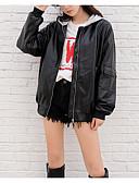 ieftine Tricou-Pentru femei Ieșire Regular Jachetă, Bloc Culoare Capișon Manșon Lung Poliester Negru M / L