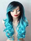 זול גברים-ג'קטים ומעילים-פאות סינתטיות / פאות לתחפושות מתולתל עם פוני שיער סינטטי שיער אומבר / שורשים כהים / חלק צד כחול פאה בגדי ריקוד נשים ארוך עשן כחול