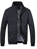 cheap Men's Jackets & Coats-Men's Going out Spring &  Fall Regular Jacket, Color Block Round Neck Long Sleeve Polyester Blue / Black XXXL / 4XL / XXXXXL