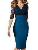 povoljno Ženske haljine-Žene Rad Slim Korice Haljina - Čipka, Color block V izrez Do koljena