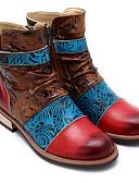 ieftine Rochii Maxi-Pentru femei Ghete Piele Primăvara & toamnă Vintage Cizme Toc Jos Cizme / Cizme la Gleznă Rosu