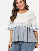 economico Taglie forti-T-shirt Per donna Per uscire Essenziale Collage, Tinta unita / Monocolore Bianco XXXL