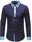 tanie Męskie koszule-Koszula Męskie Bawełna Praca Szczupła - Kolorowy blok / Długi rękaw