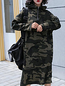 tanie Damskie bluzy z kapturem-Damskie Podstawowy Spodnie - Kamuflaż Zieleń wojskowa Jeden rozmiar / Długie