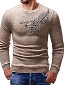 お買い得  メンズセーター&カーデガン-男性用 日常 ストリートファッション レタード 長袖 スリム レギュラー プルオーバー, ラウンドネック ブラック / ダックグレー / ベージュ L / XL / XXL