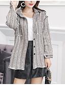 ieftine Tricou-Pentru femei Ieșire Regular Jachetă, Bloc Culoare Răsfrânt Manșon Lung Poliester Negru / Gri Deschis M / L / XL