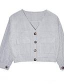 tanie T-shirt-Koszula Damskie Bawełna Kołnierzyk koszuli Kratka