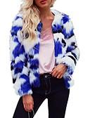 ieftine Pantaloni de Damă-Pentru femei Zilnic De Bază Toamna iarna Scurt Palton Piele, Bloc Culoare Albastru & Alb Rotund Manșon Lung Blană Artificială Albastru piscină XL / XXL / XXXL