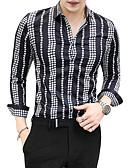 abordables Camisas de Hombre-Hombre Camisa, Cuello Inglés Delgado Bloques / Manga Larga
