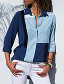 رخيصةأون بلوزات نسائية-نسائي بلوزة قياس كبير نحيل قبعة القميص - أساسي ألوان متناوبة أزرق XL