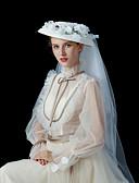 baratos Vestidos de Noite-Linho / Veludo Flocado Chapéus com Floral 1 Peça Casamento / Festa / Noite Capacete
