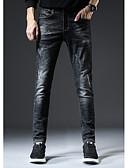 رخيصةأون بنطلونات و شورتات رجالي-بنطلون رجالي قطن جينزات - ضيق / نحيل لون سادة