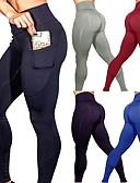 رخيصةأون ملابس السباحة والبيكيني 2017 للنساء-نسائي جيب السراويل اليوغا - أزرق, رمادي داكن, بورجوندي رياضات لون الصلبة سباندكس مرتفع الجوارب الدراجات / طماق الرقص, ركض, Fitness ألبسة رياضية بعقب رفع, بنطلون رياضي للبطن, مرونة عالية قابل للبسط
