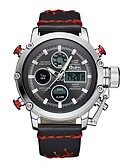 cheap Sport Watches-Oulm Men's Sport Watch Military Watch Japanese Japanese Quartz 30 m Water Resistant / Water Proof Calendar / date / day LCD Leather Band Analog-Digital Casual Fashion Black / Brown - Red Gold / Black