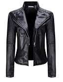 cheap Women's Leather & Faux Leather Jackets-Women's Street chic Leather Jacket - Solid Colored