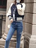 ieftine Jachete & Blazer Damă-Pentru femei Sport De Bază Regular Jachetă, Bloc Culoare Stand Manșon Lung Poliester Albastru piscină M / L / XL