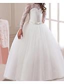 preiswerte Kleider für die Hochzeitsfeier-Kinder Mädchen Süß Solide Langarm Kleid Rosa