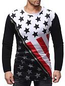 お買い得  メンズTシャツ&タンクトップ-男性用 プリント Tシャツ ベーシック ラウンドネック カラーブロック / グラフィック コットン ホワイト L / 長袖
