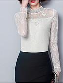 baratos Vestidos para Trabalhar-Mulheres Blusa Sólido Gola Redonda