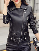 cheap Women's Leather & Faux Leather Jackets-Women's Going out Jacket - Solid Colored