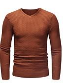 cheap Men's Shirts-Men's Daily Basic Solid Colored Long Sleeve Slim Regular Pullover, V Neck Fall Black / Beige / Light gray XL / XXL / XXXL