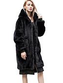 olcso Női szőrme és műszőrme kabátok-Női Napi Utcai sikk Hosszú Kabát, Egyszínű Kapucni Hosszú ujj Poliészter Fekete Egy méret / Bő