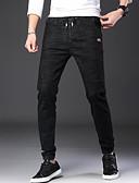 זול מכנסיים ושורטים לגברים-בגדי ריקוד גברים סגנון רחוב מידות גדולות סקיני ג'ינסים מכנסיים - אחיד שחור