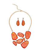cheap Quartz Watches-Women's Gemstone Retro Jewelry Set - Resin Stylish, Simple, Unique Design Include Drop Earrings Necklace Orange / Green For Party Gift