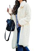 Χαμηλού Κόστους Βραδινά Φορέματα-Γυναικεία Καθημερινά Βασικό Φθινόπωρο & Χειμώνας Κανονικό Γούνινο παλτό, Μονόχρωμο Κολάρο Ρολό Μακρυμάνικο Πολυεστέρας Βαθυγάλαζο / Γκρίζο / Χακί M / L / XL
