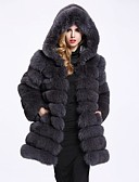 cheap Women's Fur & Faux Fur Coats-Women's Work / Party / Cocktail Street chic / Sophisticated Winter Plus Size Long Fur Coat, Solid Colored Hooded Long Sleeve Faux Fur / Polyester / Spandex Patchwork White / Black / Gray XL / XXL