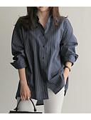 זול חולצה-חולצת נשים - צווארון חולצת פסים