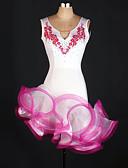 preiswerte Tanzkleidung für Balltänze-Latein-Tanz Kleider Damen Training Elasthan / Tüll Applikationen / Kristalle / Strass Ärmellos Hoch Kleid