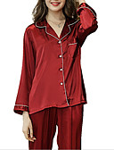 cheap Robes & Sleepwear-Women's Shirt Collar Suits Pajamas Solid Colored