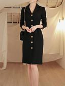 baratos Vestidos para Trabalhar-saia das mulheres / trabalho magro vestido de chiffon na altura do joelho v pescoço