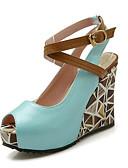 baratos Jaquetas Femininas-Mulheres Sapatos Confortáveis Sintéticos Verão Sandálias Salto Plataforma Verde / Azul / Rosa claro